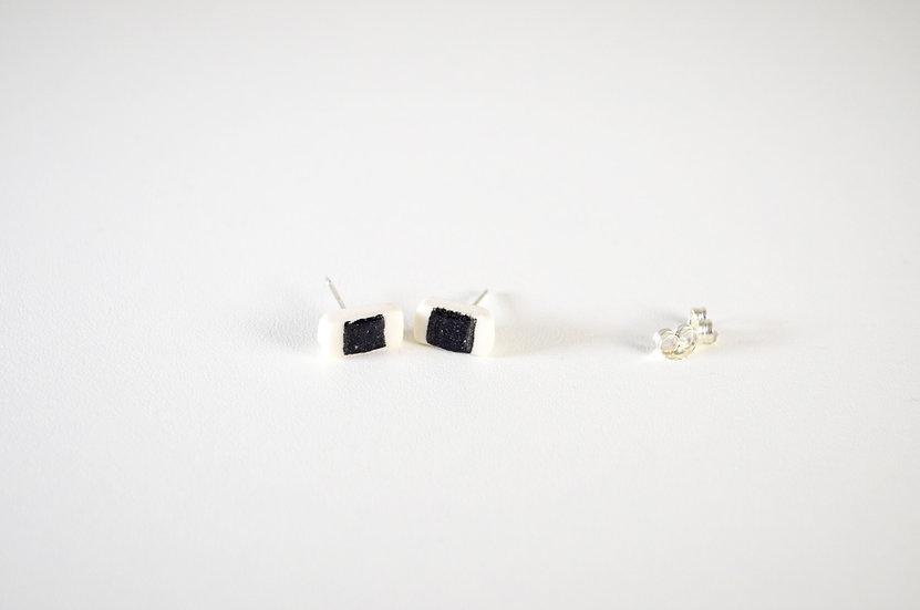 Petite Oblong Earrings with black strip