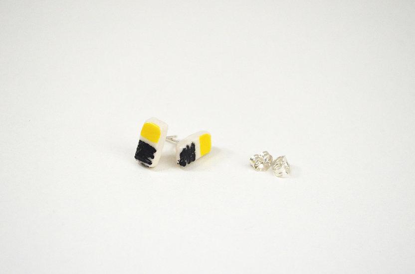 Yellow & black earrings - oblong