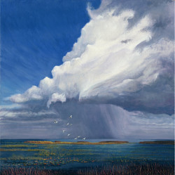 Thunderstorm at Lake Okeechobee. Oil on Canvas. To buy a print, click below