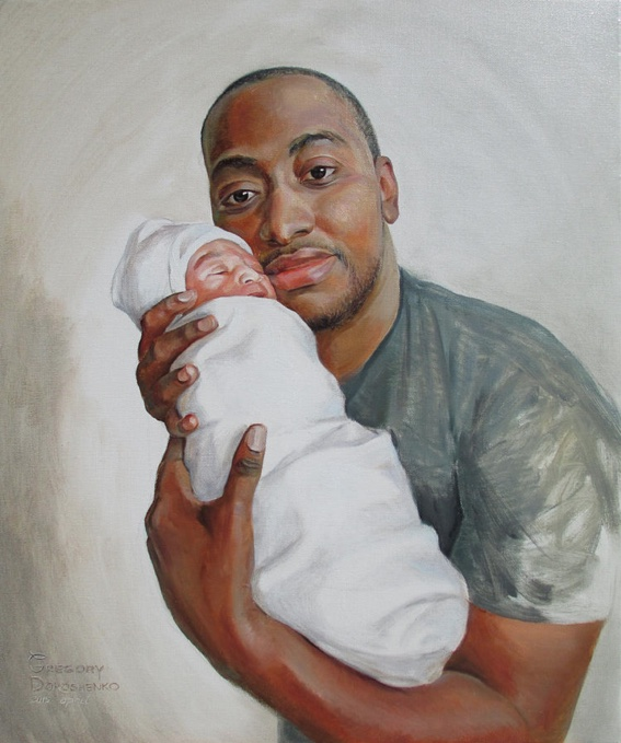 Dad with Newborn. Oil on Canvas