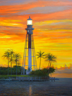 Pompano Beach Lighthouse. Oil on Canvas. Prints for sale are available.