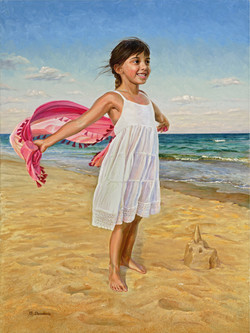 Little Girl at the Ocean. Oil on Canvas