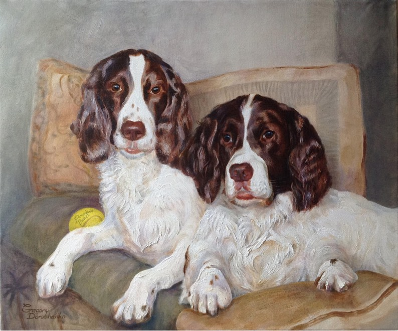 Two English Spaniels. Oil on Canvas