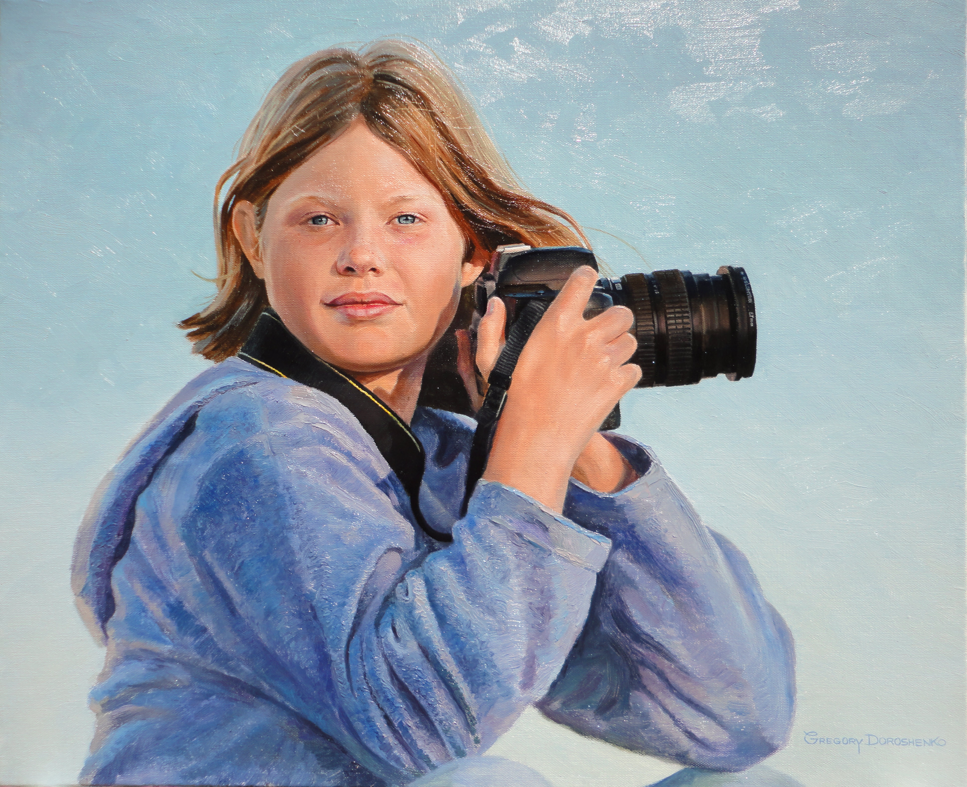 Girl with Camera. Oil on Canvas