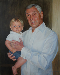 Grandpa and Little Boy. Oil on Canvas