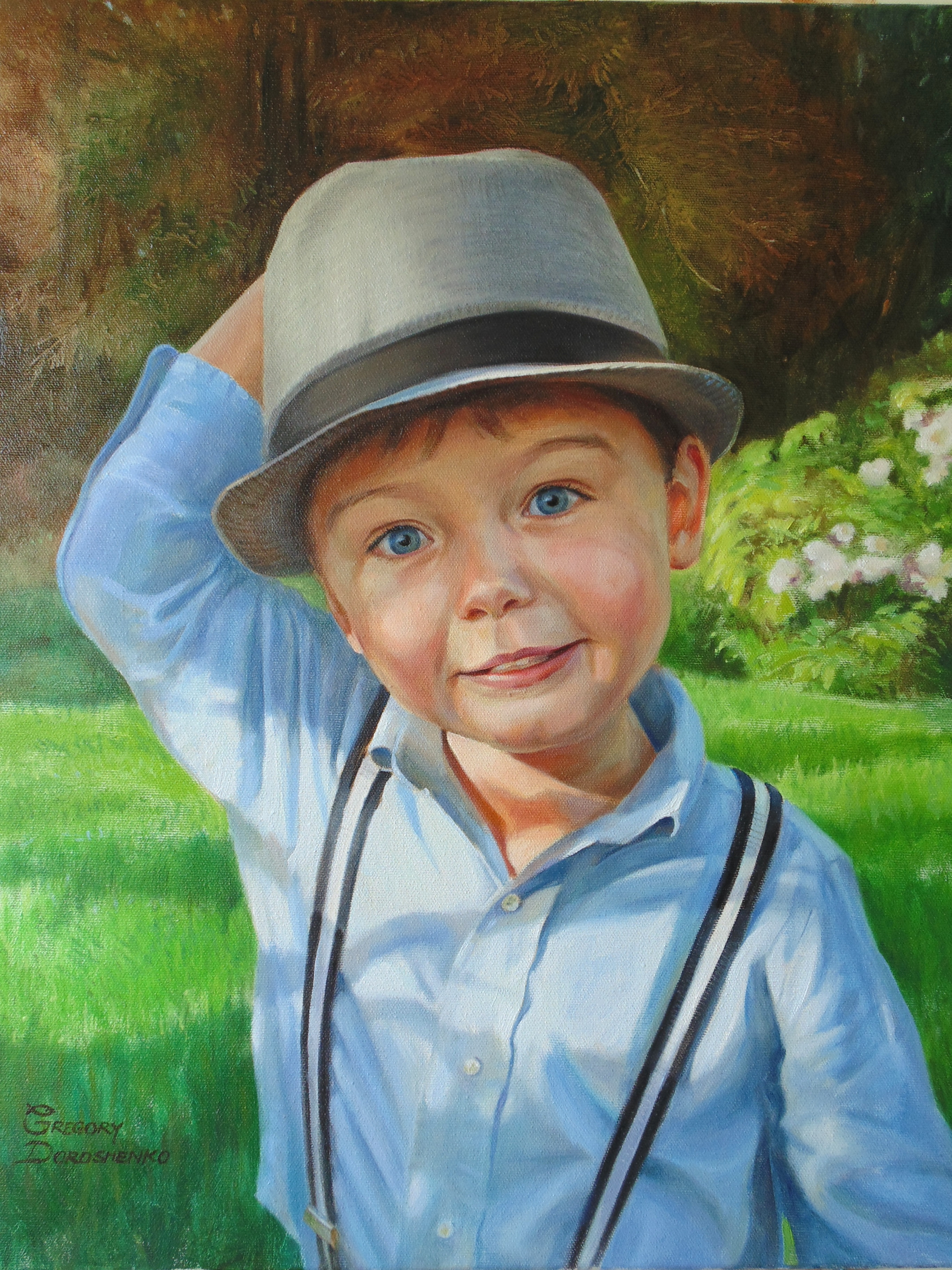 Portrait of English Boy. Oil on Canvas
