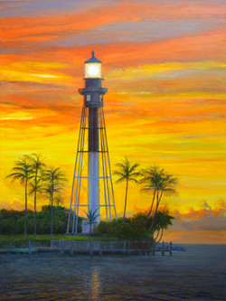 Pompano Beach Lighthouse. Oil on Canvas. To buy a print, click below
