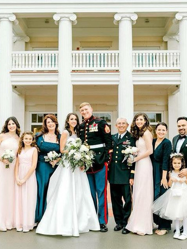 Our family celebrating daughter Alexandra's wedding to Gunnery Sgt. Dayton McConnell