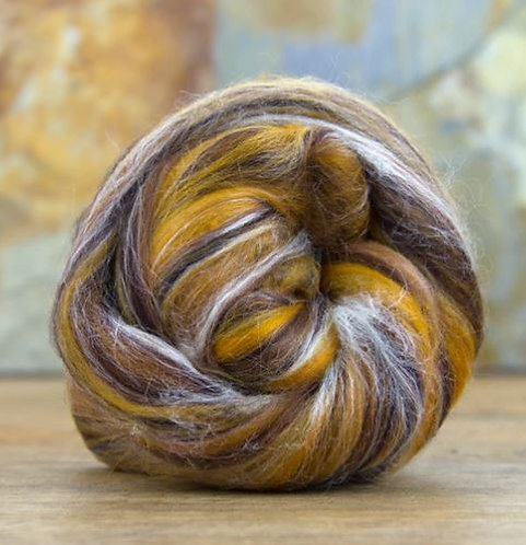 """Merino Wool and Silk Blended Combed Top """"Lynx"""" 4 Ounces Roving"""