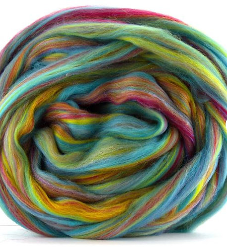 """Merino Wool and Stellina Blended Combed Top 4 Ounces """"Over The Rainbow"""""""