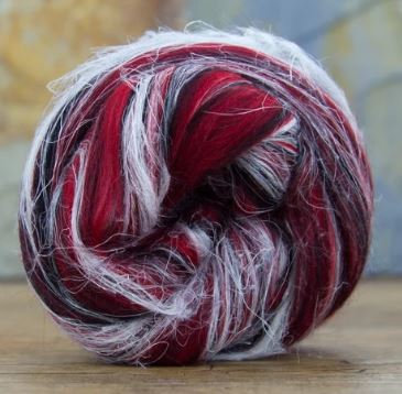 "Merino Wool and Flax/Linen Blended Combed Top 4 Ounces ""Scorpio"" Roving"
