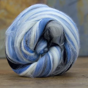 """Merino Wool and Flax/Linen Blended Combed Top 4 Ounces """"Pisces"""" Roving"""