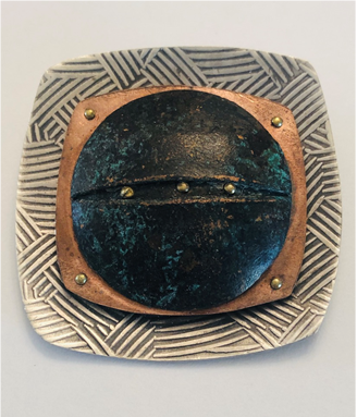 Riveted Copper & Sterling Silver Broach