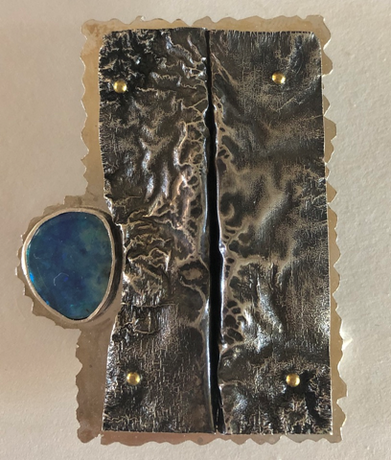 Reticulated & Sterling Silver With Opal Broach