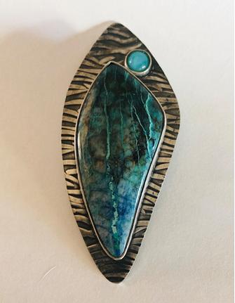 Agate Amazonite & Sterling Silver Pendant