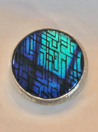 Fused Dichroic Glass & Sterling Silver Pendant