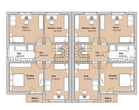 ProfESbau GmbH | Grundriss Doppelhaus