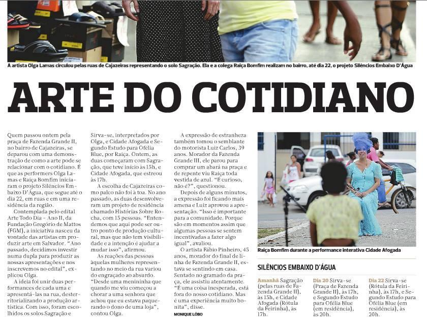 2016_Silêncio Embaixo D'água_Jornal Correio da Bahia (2)