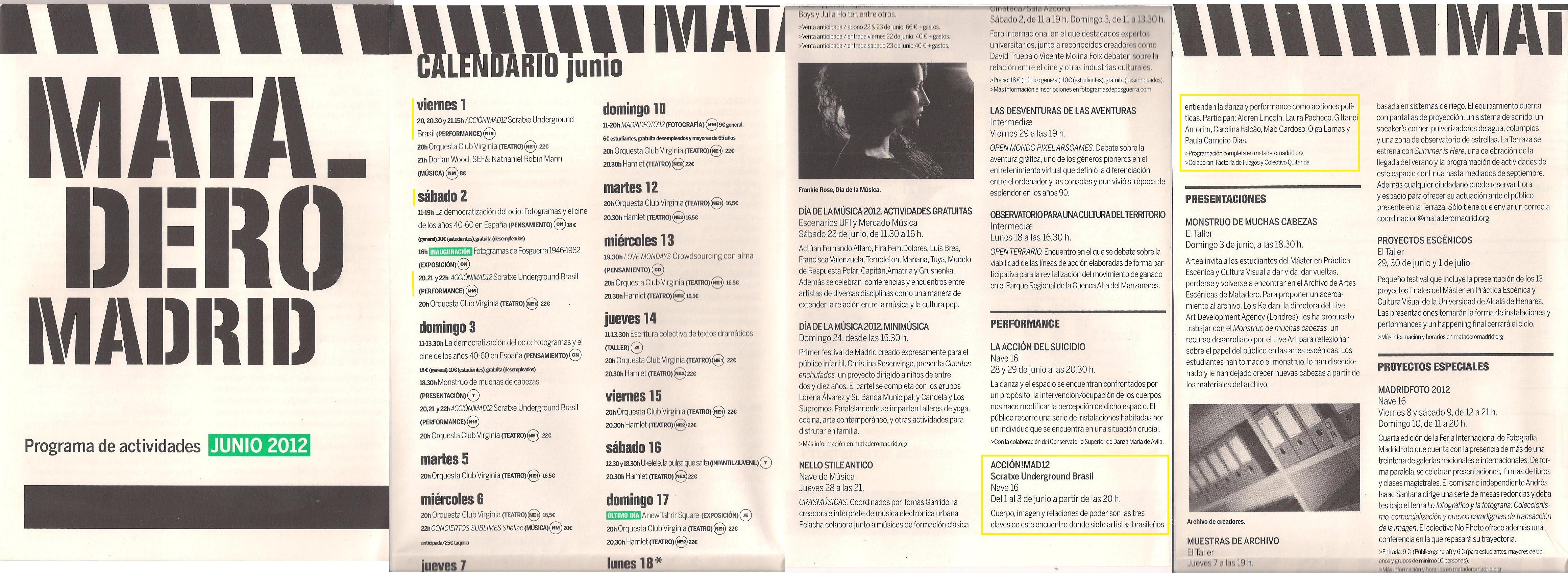 2012_Festival Scratxe Underground_Programa Matadero Madrid
