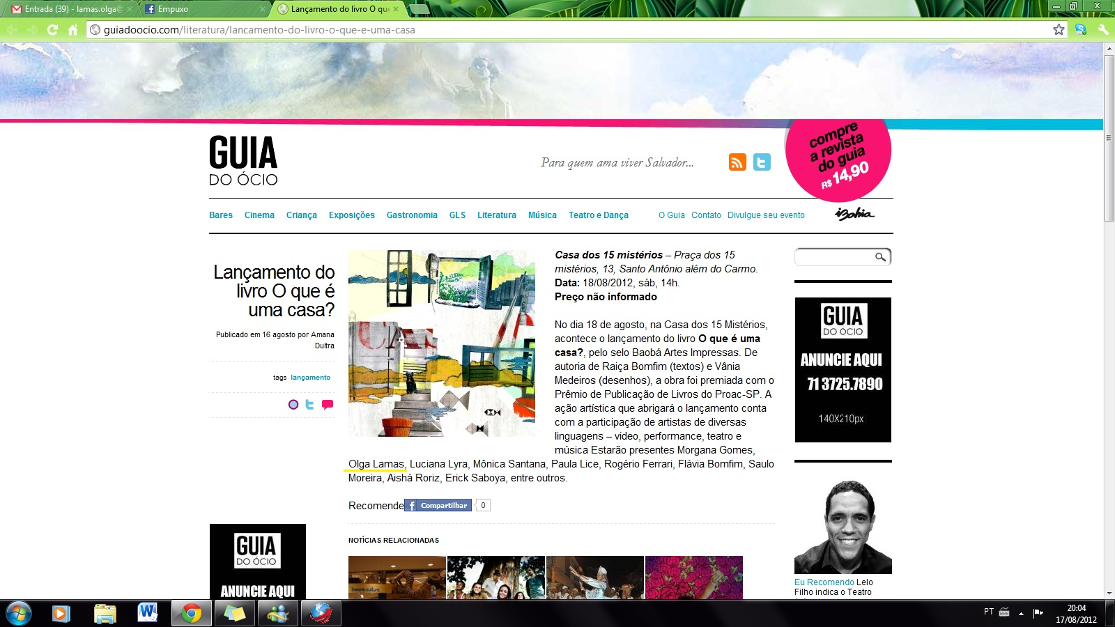 2012_EM GOLE vídeo_Site Guia do Ócio_Lançamento livro