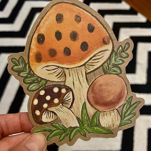 Vintage Mushie -  craft paper sticker