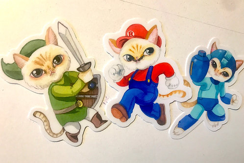 Video gamer kitty vinyl sticker