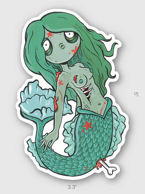 Zombie Mermaid vinyl sticker