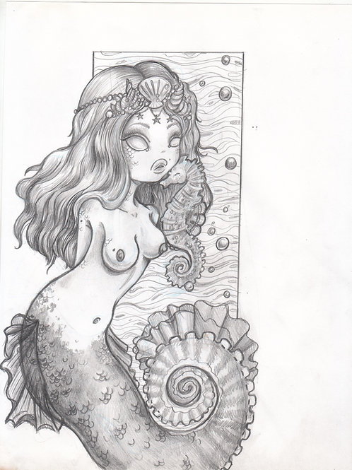 Seahorse Mermaid - original drawing