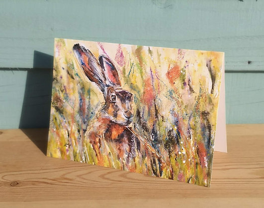 Hare in Long Grass Greetings Card