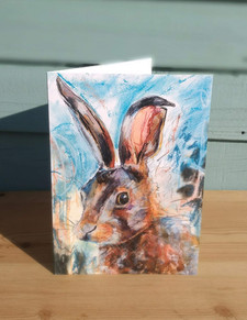 Hare in Blue Greetings card. Hare painti