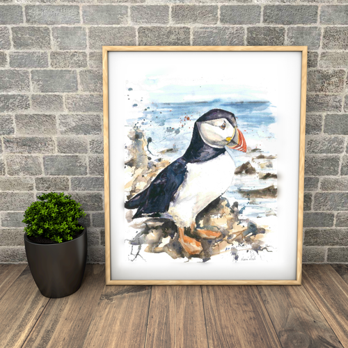 Large puffin print. Naomi Neale Art.