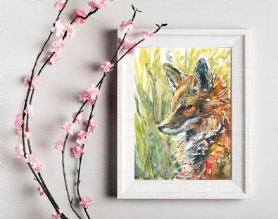 Wild. Fox painting. Small print. Naomi Neale Art. British art.png