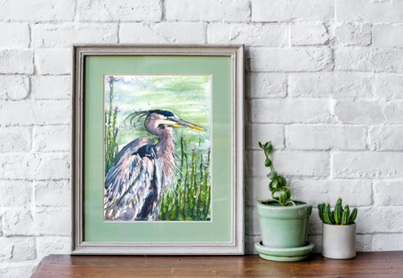 Handsome Heron,Painting by Naomi Neale Art. British wildlife