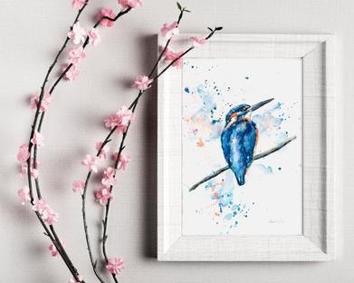 Kingfisher II. watercolour print. Naomi Neale Art