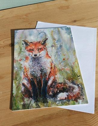 Sitting Fox Greetings Card