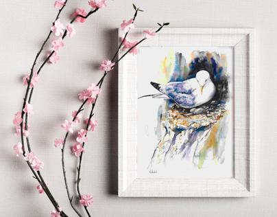 kittiwake nesting. Small watercolour print. Naomi Neale Art. British painting.png