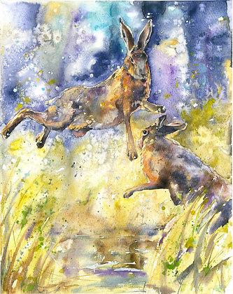 Boxing Hares Fine Art Print