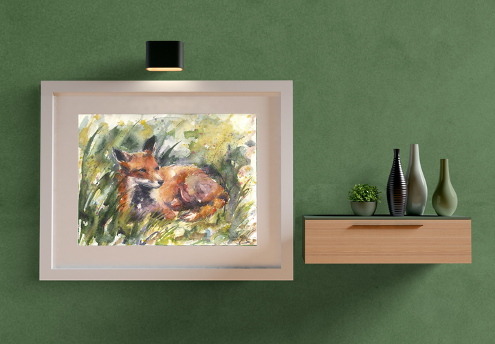 fox grass painting. Naomi Neale art. Wildlife painting.png