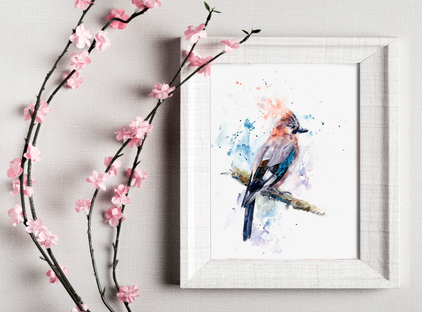 Jay watercolour print. Naomi Neale Art. British Art. Bird Painting
