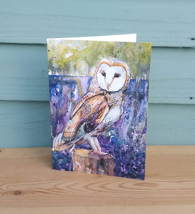 Barn Owl and Bluebells Greetings Card