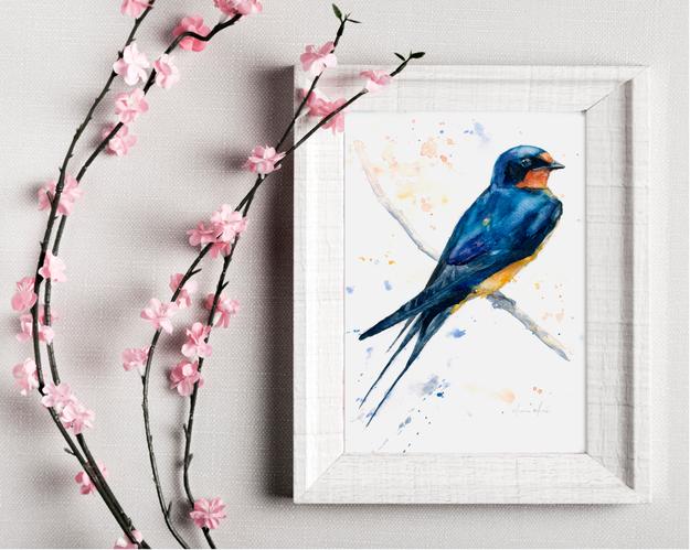 swallow original watercolour. Naomi Neale Art. British bird painting.png