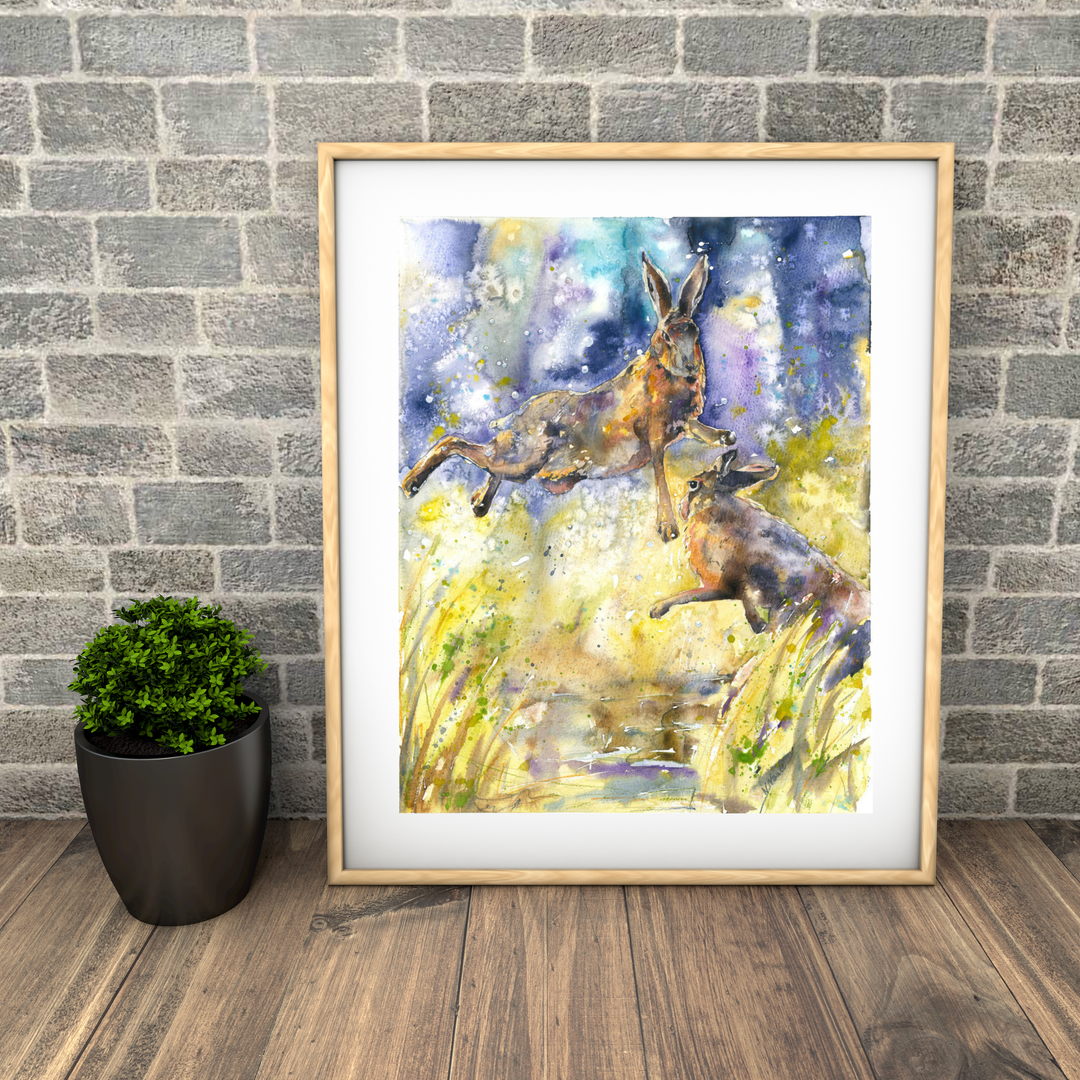 boxing hares. Naomi Neale. Hare painting