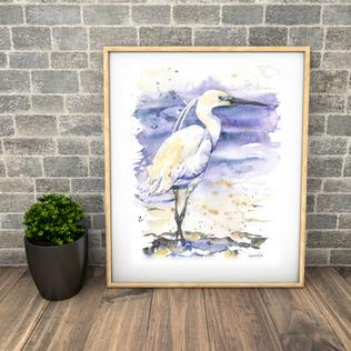 Little Egret. Naomi Neale Art. British watercolour. bird painting.png