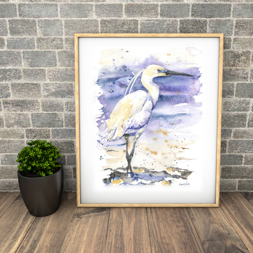 Little Egret. Naomi Neale Art. British watercolour. bird painting.png