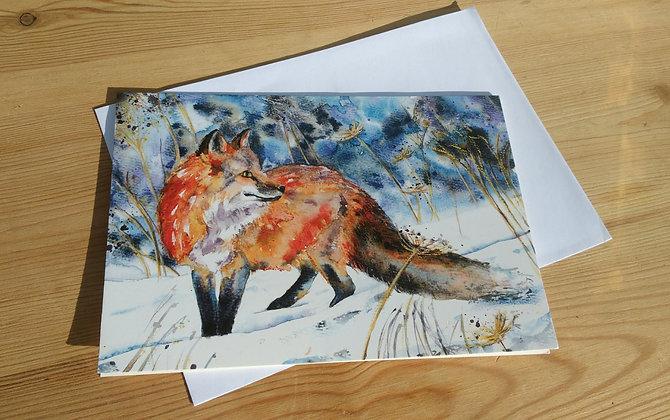 Fox in Snow Greetings Card