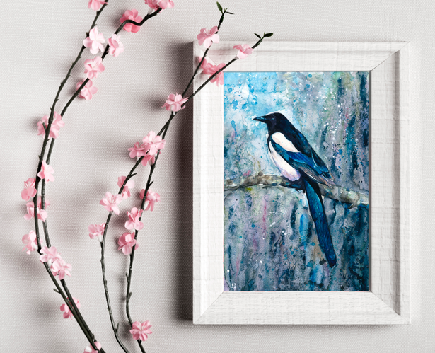 Magpie painting. Naomi Neale Art. Bird watercolour