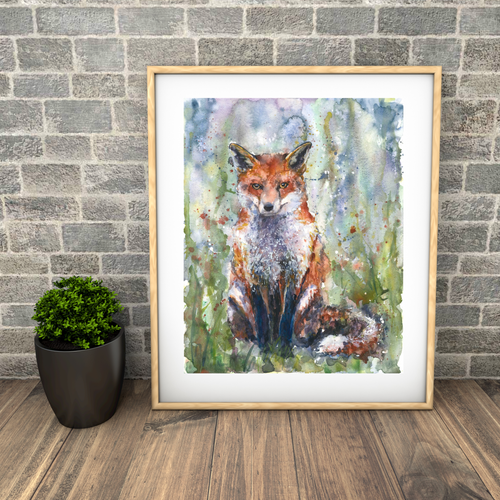 sitting fox painting. Large print. Watercolour, Naomi Neale Art.png