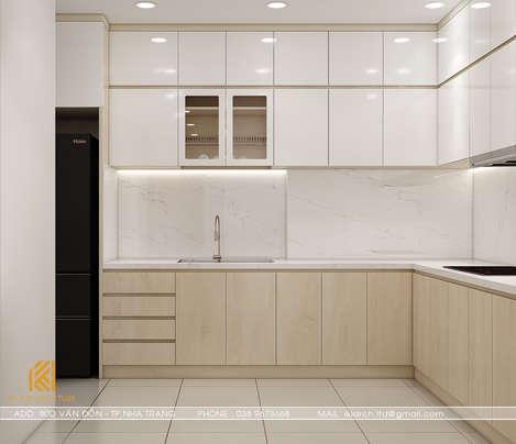 Thiết kế phòng bếp căn hộ CT2 VCN Nha Trang 65m2 - IKI200001