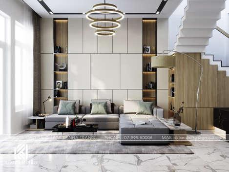 Thiết kế phòng khách nhà phố Nha Trang 150m2 - IKI200040