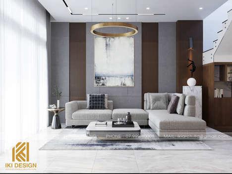 Thiết kế phòng khách nhà phố Nha Trang 200m2 - IKI200068